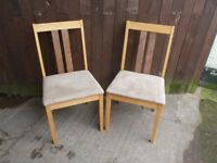 2 x Kitchen Dining table Chairs Suede Bottoms Delivery available