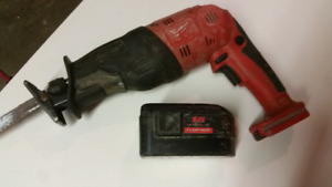 Milwaukee 18 volt sawzall with one battery and no charger.