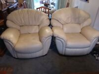 For sale 2 cream leather chairs( 1 recliner) wel