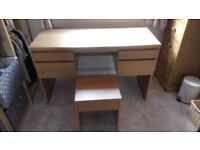 Ikea Ransby Dressing Table & Stool - Oak Veneer