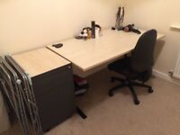 Home office desk and filing drawers light wood effect, also comes with chair.