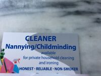 AVAILABLE NANNYING/CLEANING/IRONING