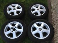 Nissan almera alloy wheels with tyres. it came of from Nissan Almera almera 2002