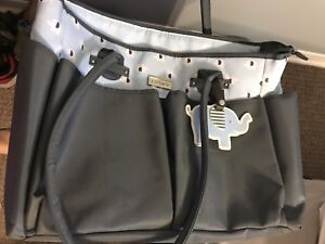 Carter's Elephant Print Diaper Bag with Luggage Tag