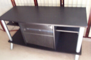 """TV stand, black, 42"""" wide, 19"""" deep and 24"""" high, excellent"""