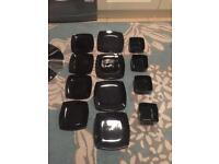 Brand new 12pc dinner set black square plates and bowls kitchenware dining