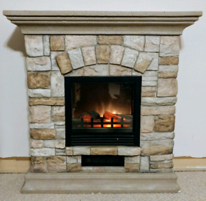 Electric Fireplace with Mantle and Multicolour Stone Facade