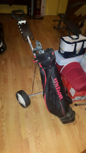 Golf caddy, bag with clubs