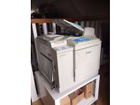 Duplo DP-21 S II (printer/copier) with trolley, 6 black ink cartridges and 3 new master rolls