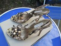 DUNE STRAPPY ANIMAL PRINT HEELED SHOES