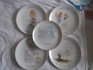 5 Precious Moments Plates 1988 Blessed Are & December