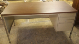 Metal desk with particle board top