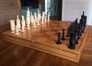 Carved Chess Set with Board