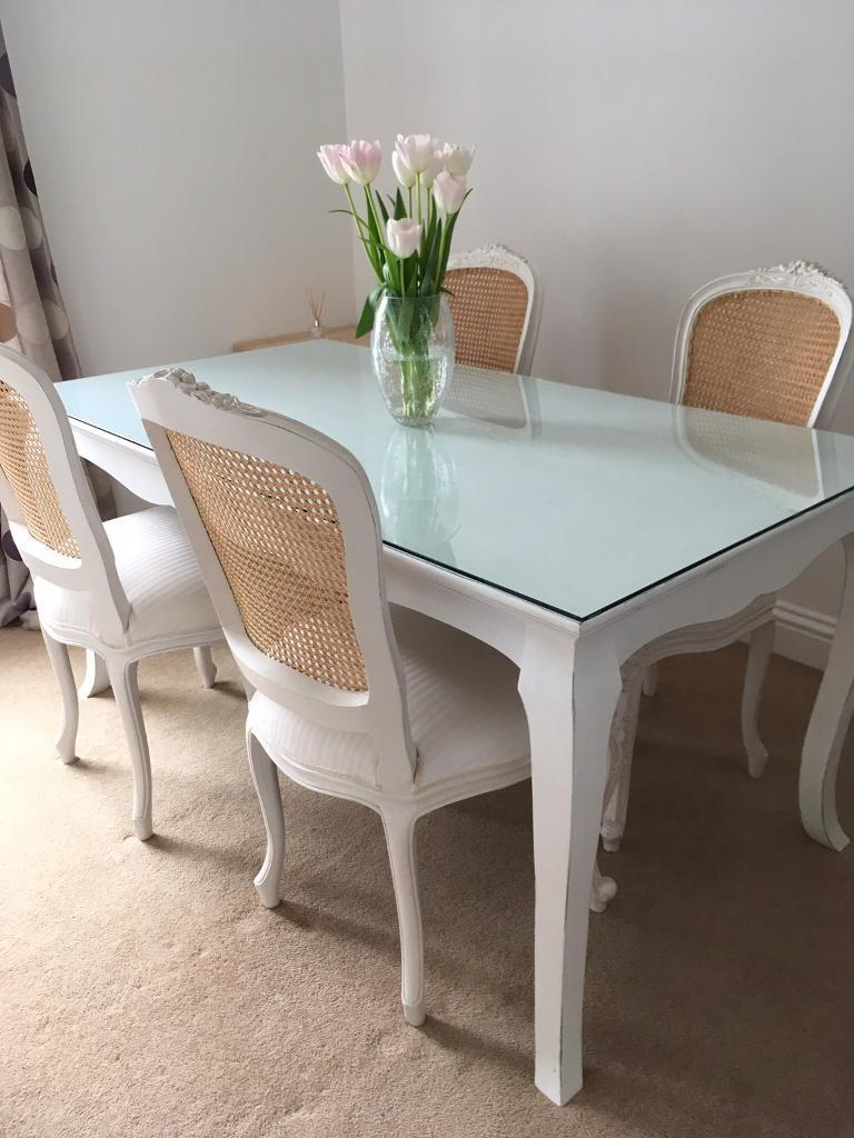 White Shabby Chic Next Lilly Dining Table In Cambridge