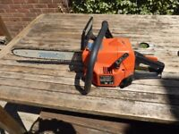 Petrol chainsaw in working order.