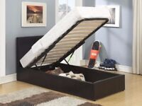 OTTOMAN SINGLE LEATHER BED STORAGE BED WITH ORTHOPAEDIC MATTRESSES SAME DAY EXPRESS DELIVERY