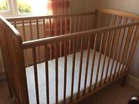 Pine baby cot and mattress