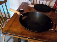 Wok, skillet, Le Crueset casserole dish, washing up bowl for sale