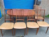 VINTAGE SOLID WOOD DINING TABLE WITH CHAIRS
