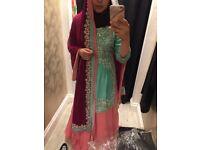 Indian dress bridal mhendi mint Coral pink and plum heavy embellishment