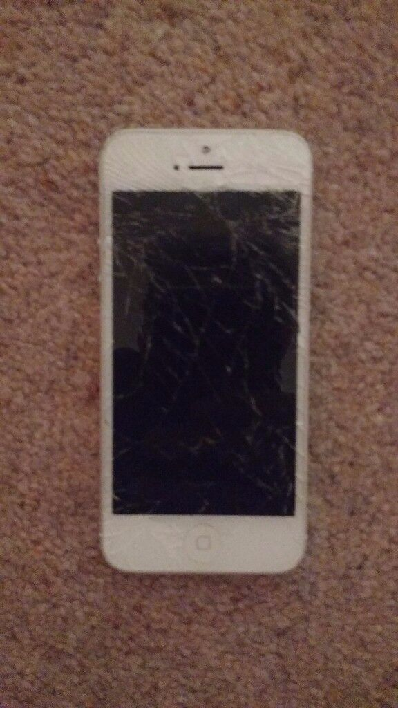 iPhone 5 - Silver. Smashed Screen, everything else works well.