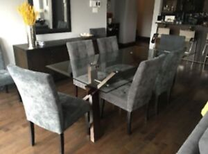 Large glass dining table and chair set from Attica for sale!