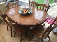 Highly polished walnut dining table & 6 chairs - bargain