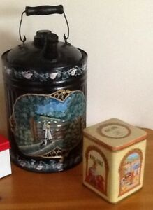 VINTAGE TINS, WOODEN JARS $10-$15  Also TOLE PAINTED CAN VINTAGE