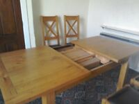 Oak Extending Dining Table Length 45ft Extended 6ft Width 3ft Four Leather Seat