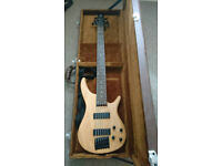 H & S, 6 String Electric Bass Guitar complete with Hard Case