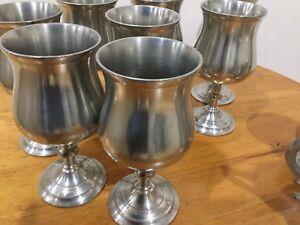 Selangor pewter, 8 wine or water glasses,plus 2 coffee mug.....