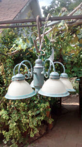 METAL CHANDELIER CEILING LIGHT GREEN TINT FROSTED SHADES