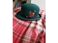 Ladies Green Bowler Hat