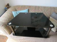 Corner TV stand black tempered glass £12