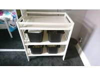 White Wood baby change table
