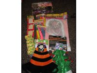 Various items of fancy dress plus balloons and cake confetti