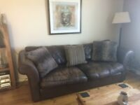3 seater and 2 seater chocolate brown leather sofas