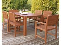 Traditional Hardwood Table and 6 Seater Garden Furniture Set