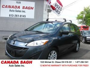2012 Mazda5 GS, AUTO/6 PASS/ BLUETOOTH, 12M.WRTY+SAFETY $8190