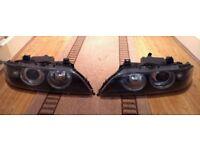 Pair of Genuine BMW E39 5-Series Angle Eye Headlights GOOD ADJUSTERS! Facelift Sport Hella Headlamp