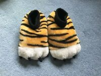 Tiger feet slippers, children's size 12
