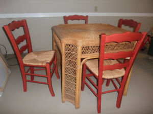 Vintage Wicker Table, 4 Ladderback/wicker Chairs PRICE REDUCED