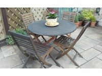 Hardwood Round Garden Table and 4 Chairs (all foldable)