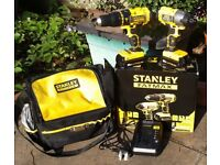 SET of 2 x DRILLS, with STORAGE CASE/BAG and BATTERY CHARGER. Brand New, STANLEY FAT MAX.