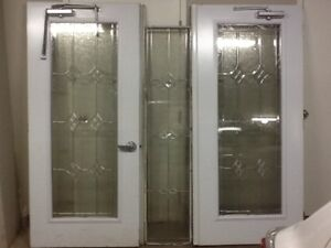"""2 Stained Glass 36"""" Doors & 1 Stained Glass Window Insert"""