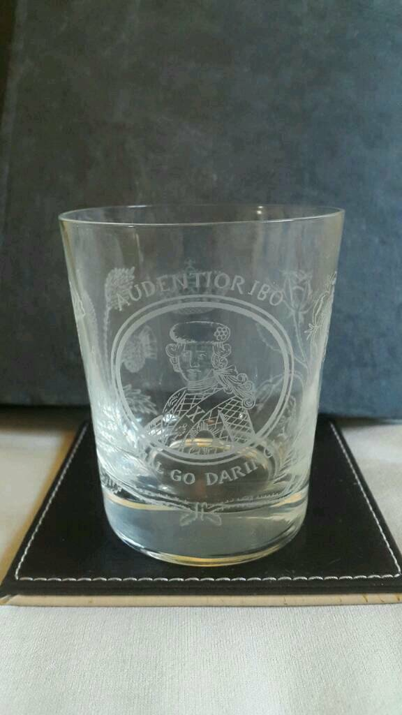 Antique Engraved Bonnie Prince Charlie Scotch Whiskey Glass