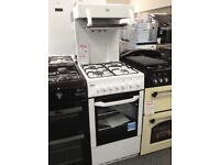 Beko white gas cooker. High level grill. RRP £379. 12 month gtee