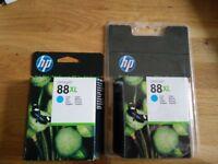 2 x HP OfficeJet 88XL Cyan Ink Cartridges - UNOPENED