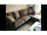 Furniture village leather / fabric sofa almost new
