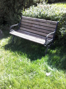 Garden bench  made by Berkeley Forge with cast iron ends